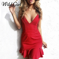 Sexy Backless Lace Up Ruffle Sundress Dress Women Deep V Neck Mini Dress Beach Summer Dress