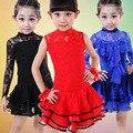 Franja Rendas Meninas Vestido de Dança Latina para As Meninas Sem Mangas Saia Ballroom Latina salsa Samba Dança Vestidos Crianças Mini Saia L163
