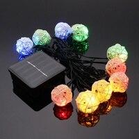 Wasserdicht Rattan Ball Solarbetriebene LED String Licht Weihnachten Hochzeit Sternen GEFÜHRT String Fairy Light Outdoor Garten Terrasse Lampe