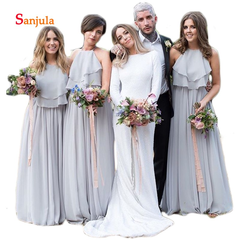 Grey Chiffon A-Line   Bridesmaid     Dresses   Halter Tiers Ruffles Top Wedding Guest   Dresses   Simple Long Maid of Honor Gowns D499