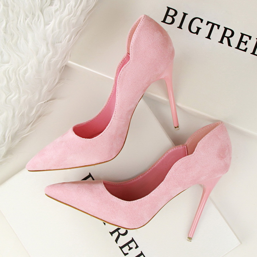 BIGTREE Spring Autumn Simple sweet women pumps Shallow mouth Suede OL Pointed Hollow 10.5 CM Fine high heels shoes 14cm sexy fine with nightclub shiny diamond high heels spring and autumn shallow mouth princess wedding shoes