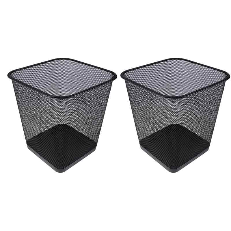 Pack of 2 Simple Practical Fashion Iron Trash Can Waste Bin for Home Bathroom Kitchen Office
