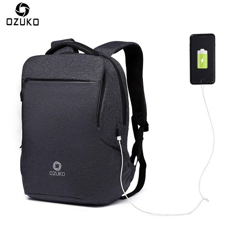 OZUKO nouveau sac à dos multifonctionnel hommes USB charge ordinateurs portables d'entreprise sac à dos de mode sac de voyage sacs d'école sac à dos sac à dos