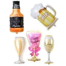 5Pcs Champagne Bottle Balloons Foil Ballons Romantic Wedding Decoration Baloon Birthday Party Decor Bride Shower Celebration