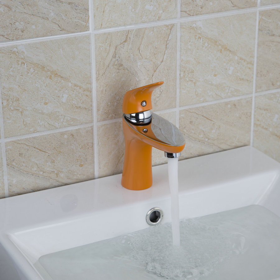 bathroom short orange spray painting euro style square bathroom sink basin faucets torneira single handle sink faucet mixer tap
