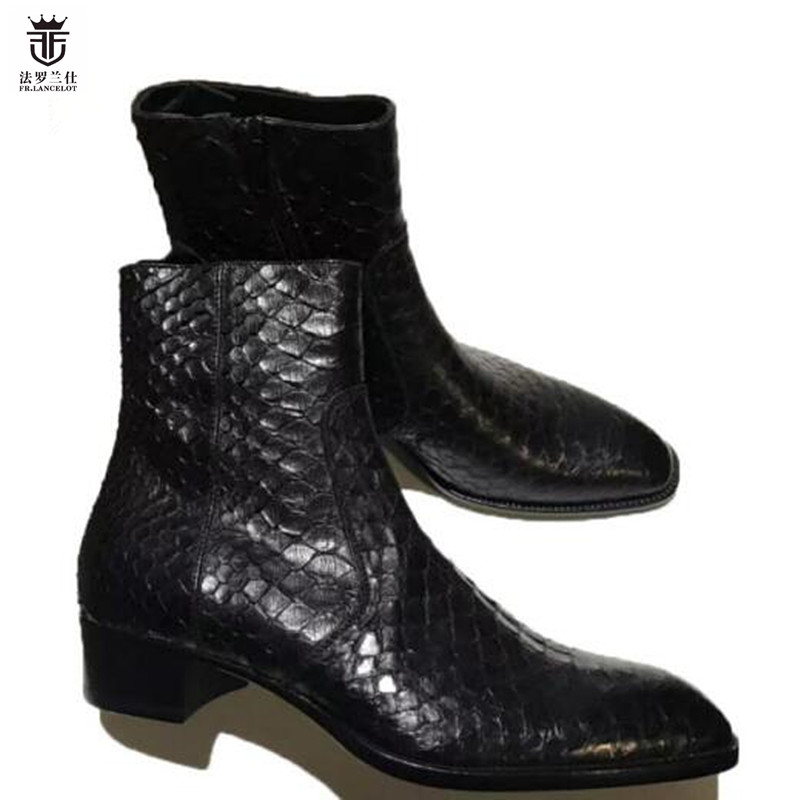 2019 Fr. Lancelot Marke Alligator Schlangen Leder Top Qualität Männer Stiefeletten Seite Zipper Chelsea Stiefel Männer Schuhe