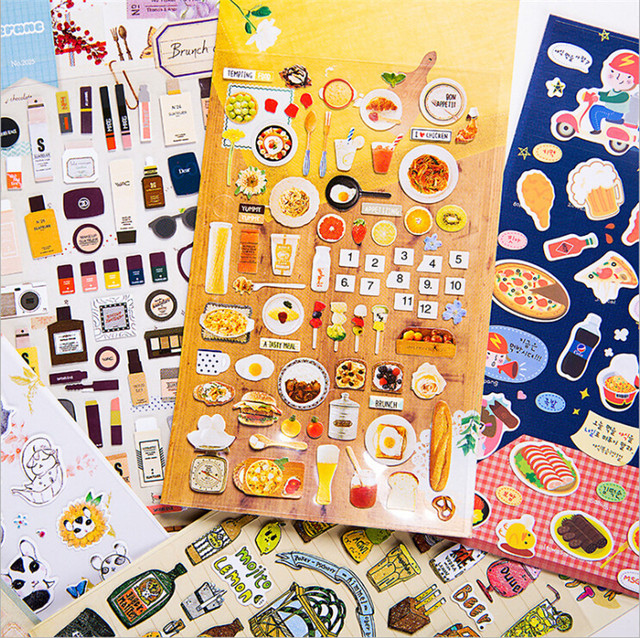 Cute hand made diary stickers stationery supreme sticker cat halloween food lifelog photo album stamp custom