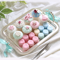 16.5 big Cake tray silver beads Rectangle Snack plate Pizza silver tray dessert dish cake plate cake tools