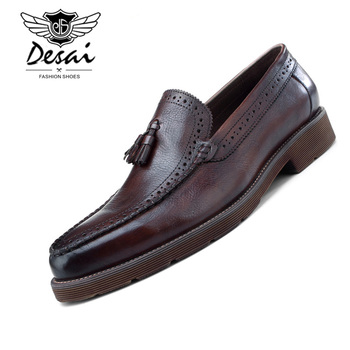 DESAI Men's Cowhide Leather Shoes with Leather Tassel Men Handmade Pointed Brogue Carved Wedding Party Shoes Men Loafers