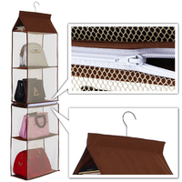 BalleenShiny 5 Layers Hanging Storage Bag Women Handbags Organizer Dustproof Detachable Tote Ladies Bags Closet Rack