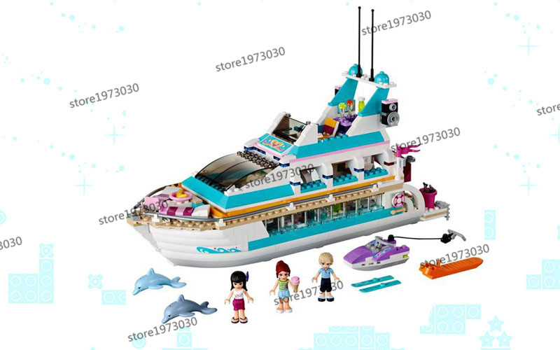 01044 New Model building kits compatible with lego city girl friends 41015 Dolphin Cruiser 3D blocks toys hobbies for children lepin 02012 city deepwater exploration vessel 60095 building blocks policeman toys children compatible with lego gift kid sets