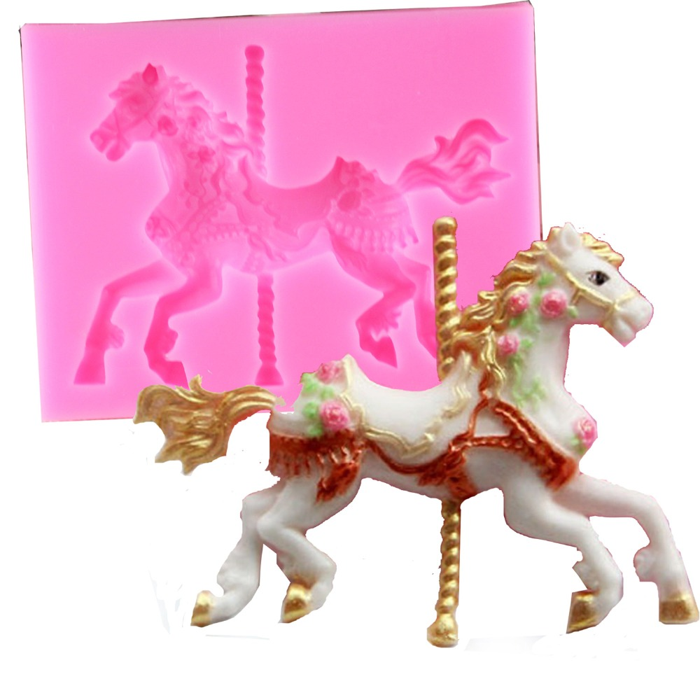 3D Jewelry Carousel Horse Mould Silicone Fondant Cake ...