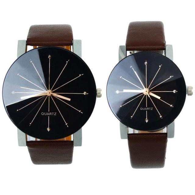 Couple Watches Fashion 2018 2pcs/set Lovers Watches 1Pair Quartz Dial Clock Leat