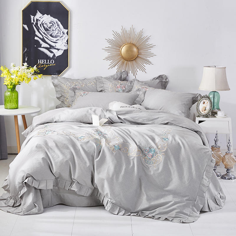 New 100%Cotton Soft Queen King Size Bedding Set Gray Pink Bed Sheet Fitted Sheet Embroidery Duvet Cover Pillowcase Parure De Lit