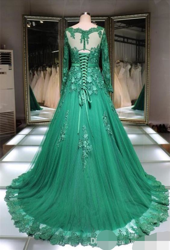 robe de soiree Muslim Evening Dresses Lace Applique Green Long Sleeve Formal Occasion Prom Dress Women Party Evening dress Lace