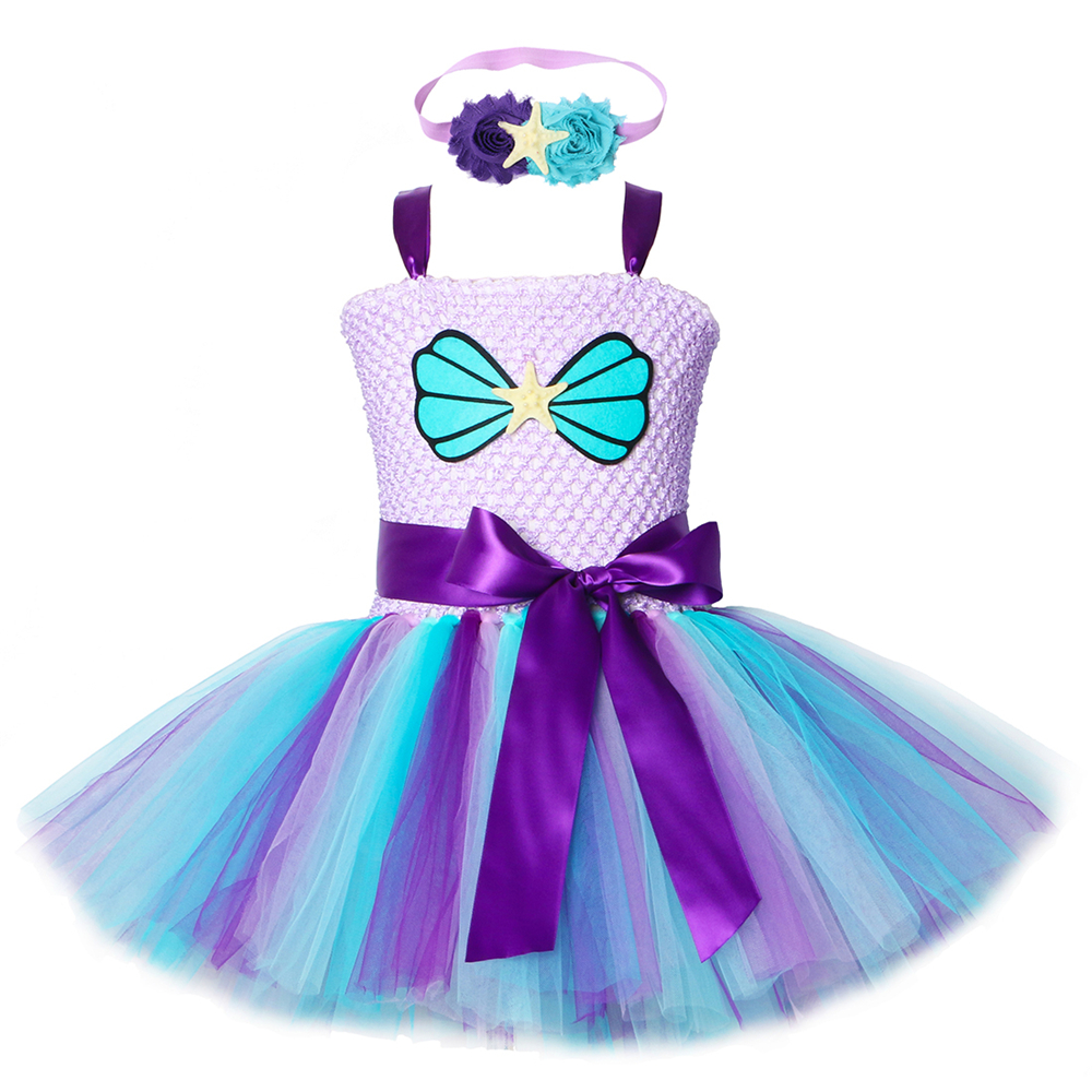 Mermaid Girls Tutu Dress with Headband Outfit Under The Sea Birthday Theme Party Dress for Kids Girl Princess Mermaid CostumeDresses   -