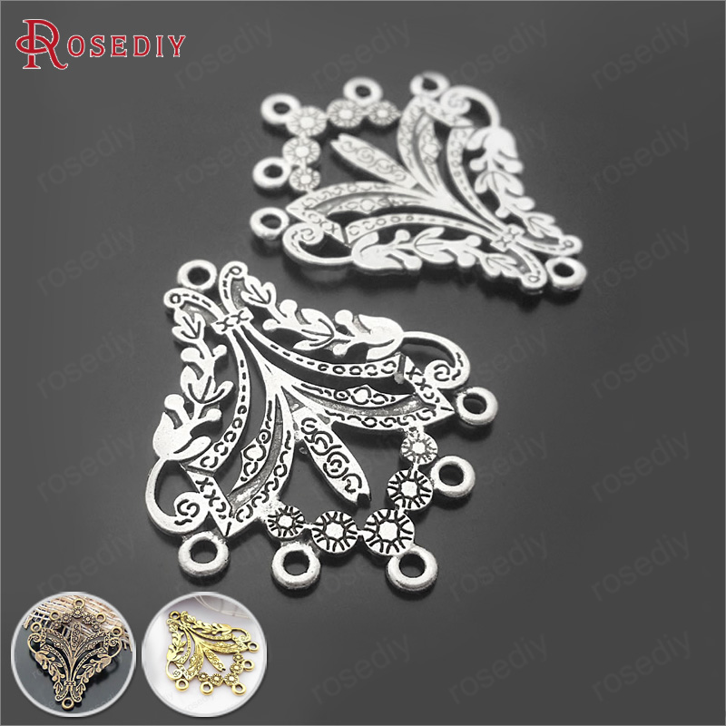 (29382)10PCS 36*30MM Antique Silver Plated Zinc Alloy Earrings connector charms Diy Jewelry Findings Accessories wholesale