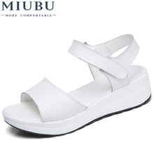MIUBU Summer Sandals Female Genuine Leather Women Casual Comfortable Wedges Shoes