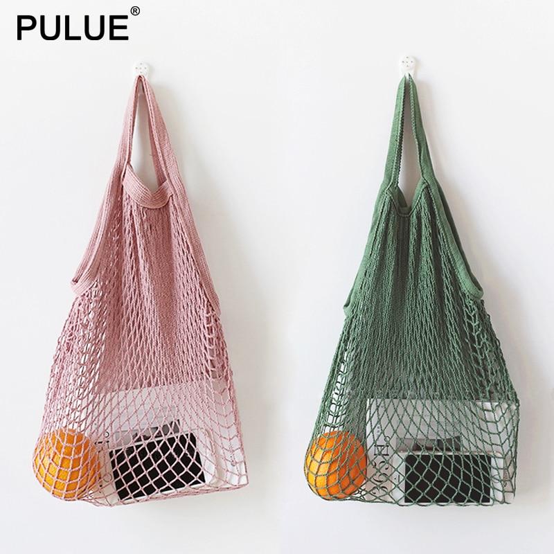 New Mesh String Shopping Bag Fashion Net Bag Reusable Fruit Storage Handbag Totes Women Shopping Mesh Bag Shopper Shoulder Bags