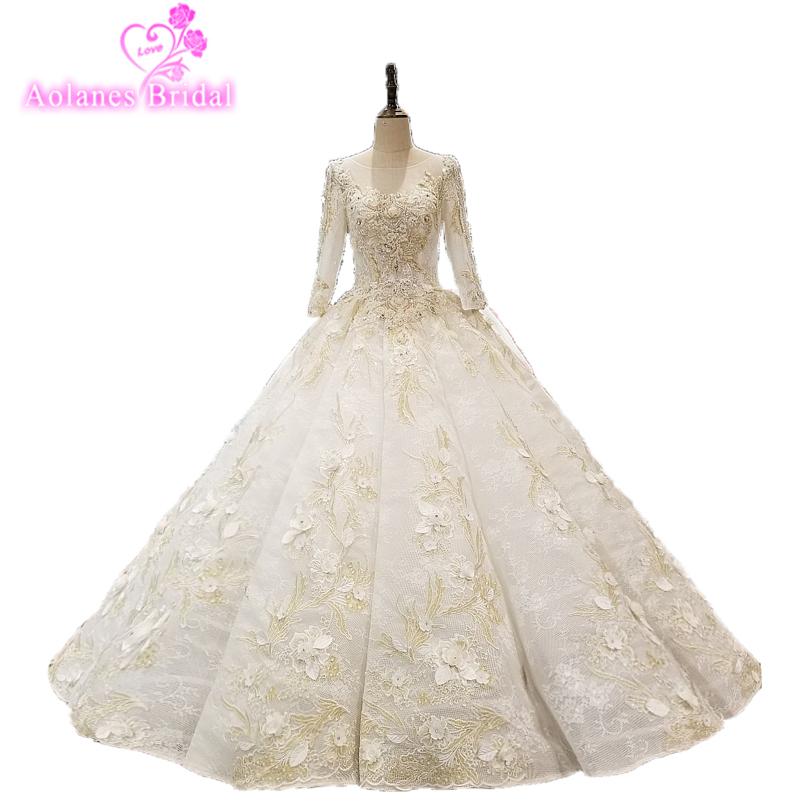 Gorgeous Muslim Wedding Dresses With Gold Lace Appliques Bridal Gown Long Sleeves Vestido De Noiva Lebanon Robe De Mariee
