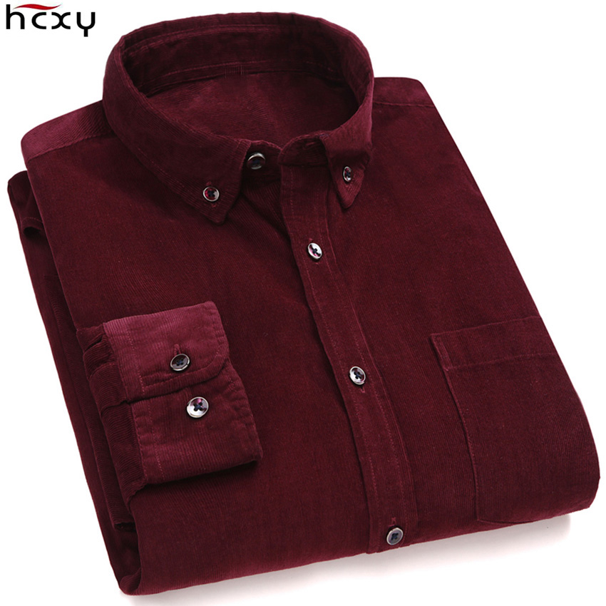 HCXY 2019 Autumn High Quality New Men's Long-sleeved Casual Shirts Men Corduroy Shirt Long Sleeve 100% Cotton Breathable