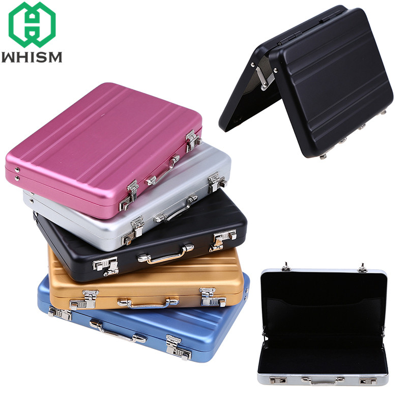WHISM Business Card Storage Box Mini Aluminium Rectangle Briefcase Name Cards Holders Credit Card Containers Rangement