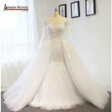 Amanda Novias Gerçek Fotoğraflar 100% Mermaid Dantel düğün elbisesi Ayrılabilir Tren Ile