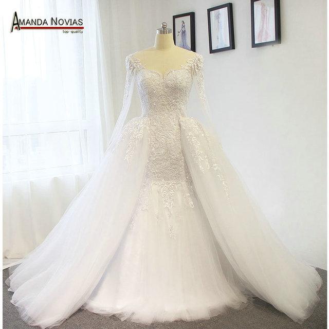 Amanda Novias Real Photos 100% Mermaid Lace Wedding Dress With Detachable  Train a485cfe2baf7