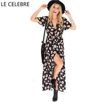 LE CELEBRE Print Floral Bohemian Dress 2017 Split Long Dress With Short Sleeves New V Neck