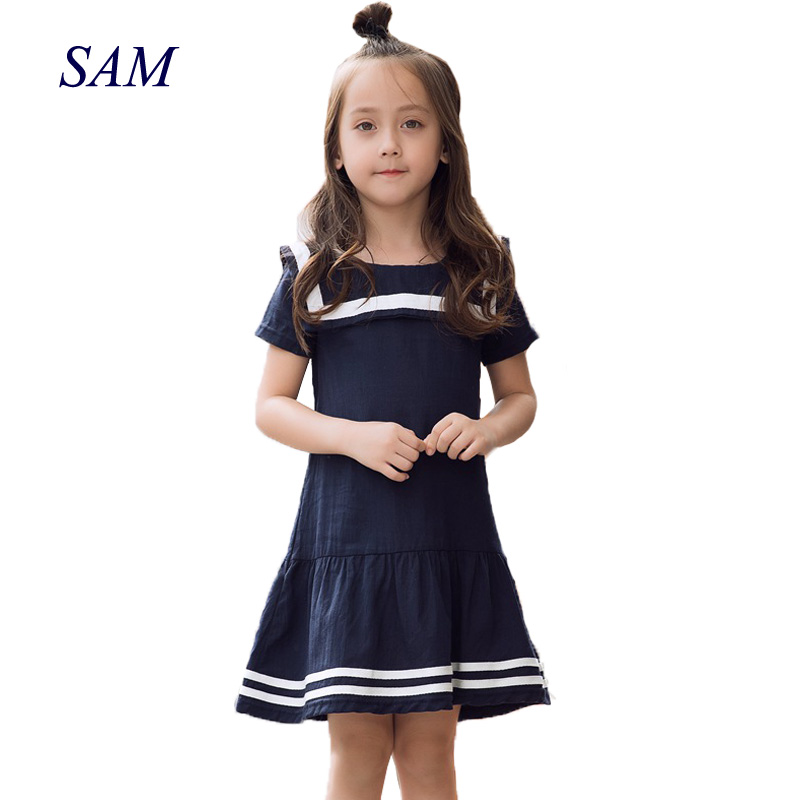 Girls's sailor collar dress big children's cotton military mosaic stripe dresses kids solid short preppy dress