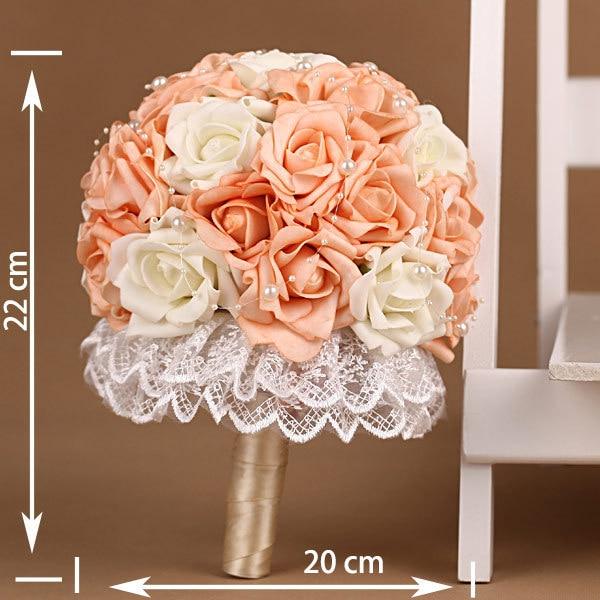 European Pearl Lace Orange Artificial Bridal Wedding Bouquets Ramo Novia Mariage Bridesmaid Flower Accessoires
