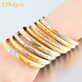 Ethlyn eight style TwoTone fashion Bangle Jewelry Mix Color Ethiopian Bangle Bracelet Africa Arab Bangles Gold Wholesale B025