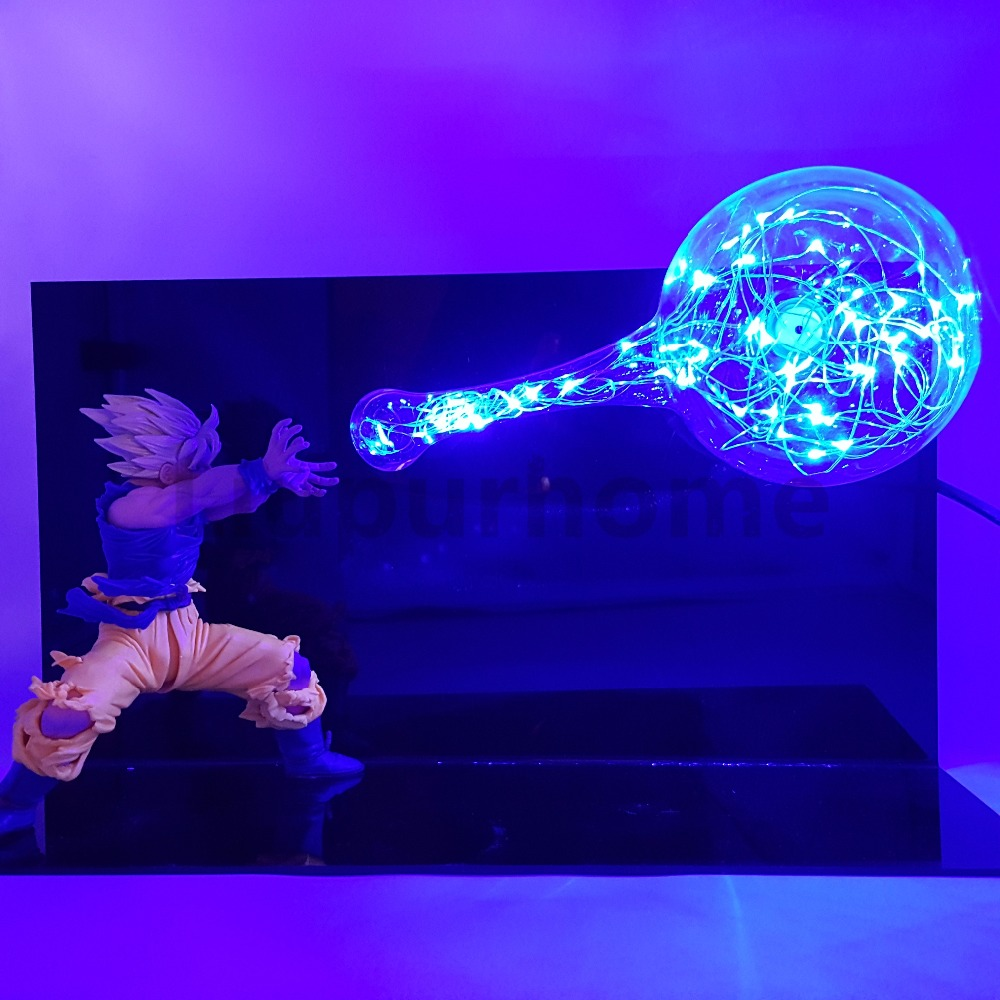 цена Dragon Ball Z Son Goku Kamehameh DIY LED Night Lights Anime DBZ Led Table Lamp Son Goku Super Saiyan Action Figure Doll