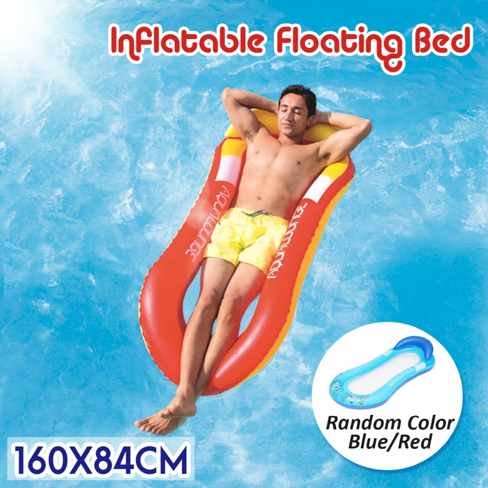 Summer Water Sports Hammock Single People Inflatable Beach Lounger Backrest Recliner Floating Sleeping Bed Chair Cushion