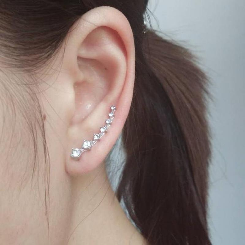 Crystal Rhinestone Clip Earring Cuff Sweep Wrap Silver