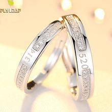 100% 925 Sterling Silver Rings For Women Digita Zircon Couple Open Ring Men Femme Fine Jewelry Student Gift Adjustable Wedding цена в Москве и Питере