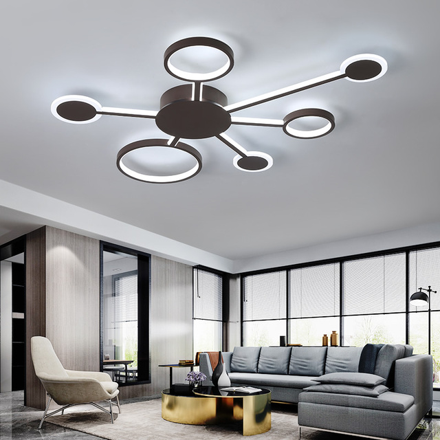 New Design Modern Led Ceiling Lights For Living Room Bedroom Study Room Home Color Coffee Finish Ceiling Lamp
