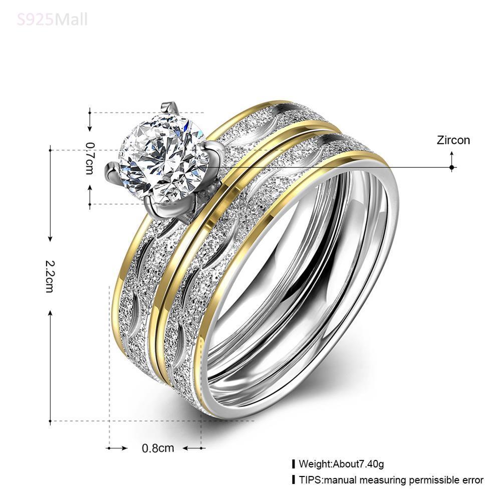 Vintage Fashion indah pola baja titanium cincin warna emas trendy - Perhiasan fashion - Foto 4