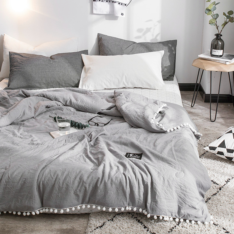 Summer Gray Air Condition Quilts Duvet With Little White Pompons Bed Linens Washed Cotton Throw Blankets Solid Bedding #s