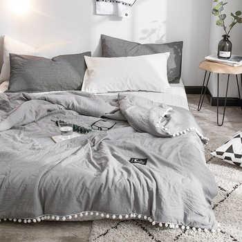 Trapunte estive grigie per aria condizionata piumone con pompon bianchi lenzuola coperte da tiro in cotone lavato biancheria da letto solida # s