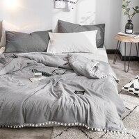 Zomer Grijs Airconditioning Quilts dekbed met little white Pompons beddengoed Gewassen katoen gooien dekens Effen beddengoed # s