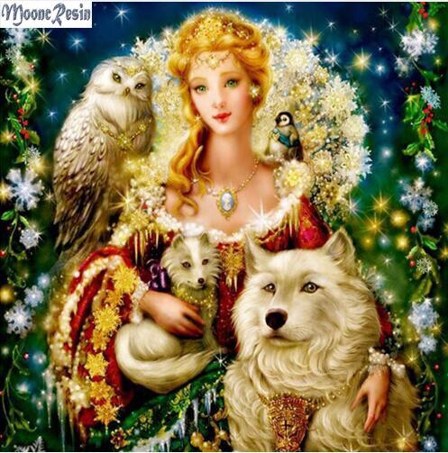 MOONCRESIN Diamant Schilderen Kruissteek Wolf & Beauty Brids Diy - Kunsten, ambachten en naaien