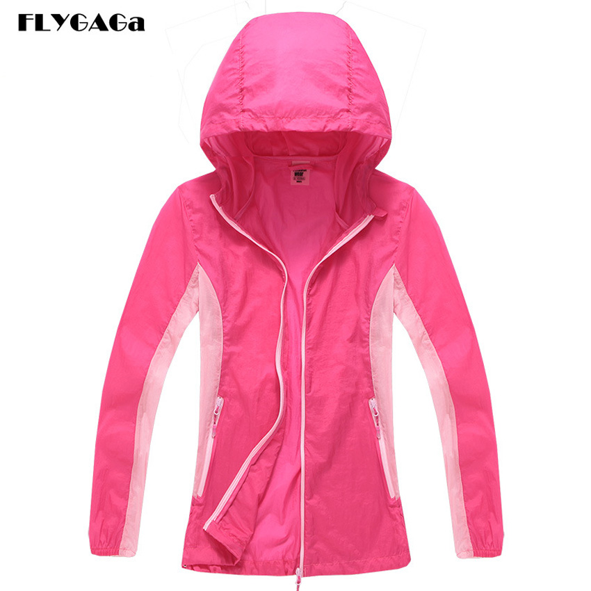 FLYGAGa Women's Softshell Windbreaker Spring Waterproof Quick Dry UV Jacket Outdoor Camping Fishing Hiking Sportswear Coat MB126