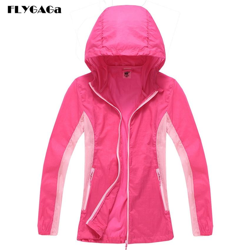 FLYGAGa Women's Softshell Windbreaker Spring Waterproof Quick Dry UV Jacket Outdoor Camping Fishing Hiking Sportswear Coat MB126
