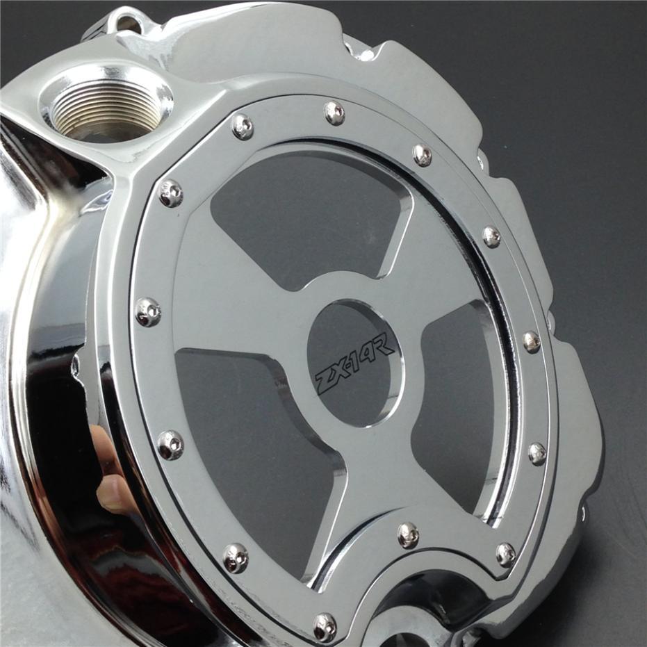 Для мотоциклов Kawasaki ZX14R ZZR1400 2006-2013 хром правый Двигатель кожух сцепления см. через