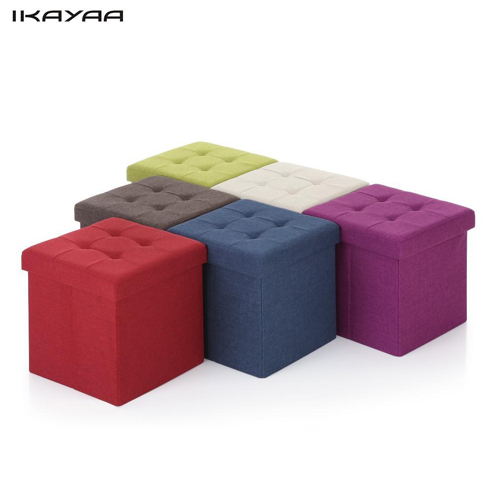iKayaa Modern Linen Fabric Foldable Storage Ottoman Cube Foot Rest Storage  Stool Box Pouffe Padded Seat - Online Get Cheap Fabric Storage Ottoman -Aliexpress.com Alibaba