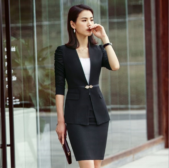2 Pieces Set Black White Formal Pants Skirts Suit Women Work Wear Office Lady Uniform Business Blazer With Loose Pants Skirts
