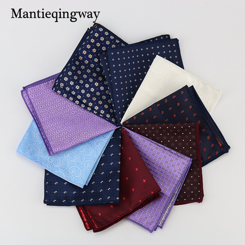 Mantieqingway Polyester Stripe Floral Dots Pattern Handkerchiefs Men Suits Pocket Squares Handkerchiefs For Wedding Towel Hanky