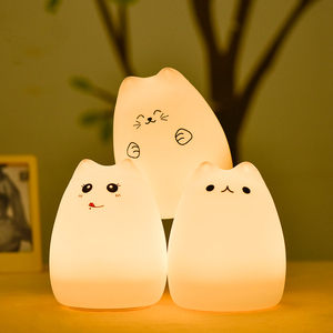 Image 4 - Silicone Cat LED Night Light Remote Control Touch Sensor Tap Colorful USB Rechargeable Bedroom Bedside Lamp for Children Baby