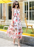 2017 Summer New Korean Version Of Slim Was Thin Dress Female Sleeveless Printing Sweet Chiffon Dress